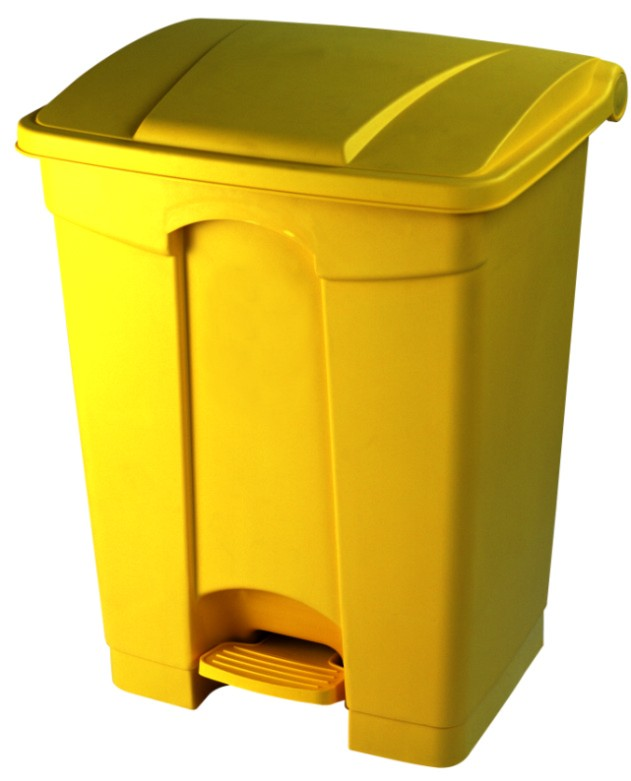 yellow step on bin